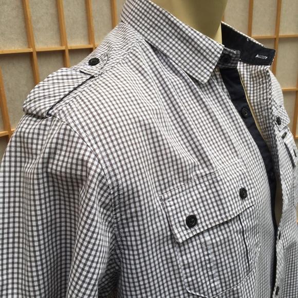 marc ecko marc ecko cut amp sew grey checked shirt sz l