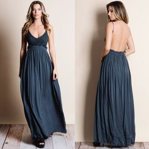 Crochet Backless Maxi Dress