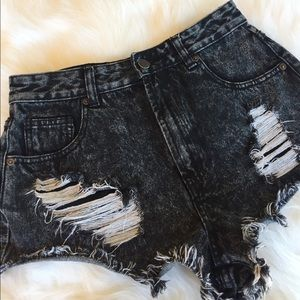 Forever 21 Black Distressed Denim Cut Off Shorts