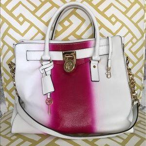 KORS Michael Kors Handbags - Michael Kors MK Hamilton Fuschia spray paint bag