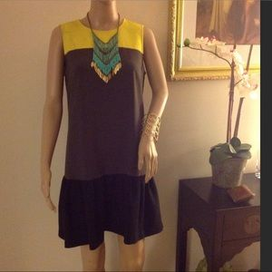 Loft Dresses & Skirts - Loft yellow, gray and black dress