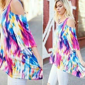 Twilight Gypsy Collective Tops - Watercolor Cold Shoulder Tunic