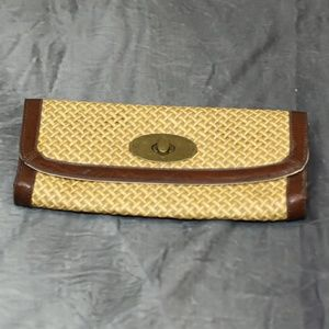Vintage smoked reed & leather handwoven clutch