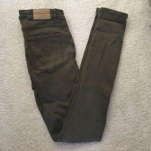 Dark olive Zara skinny jeans