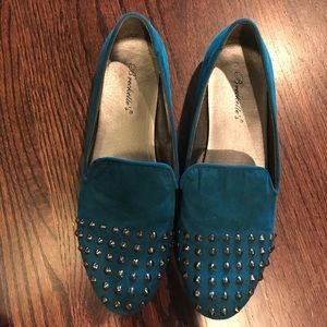 Shoes - Teal Studded Loafers