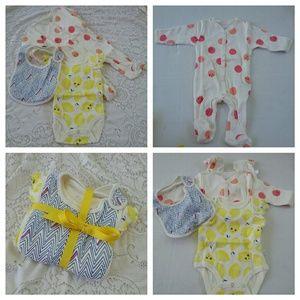 Rosie Pope Other - New 3 Piece Rosie Pope Baby Sleepers Bib 0-3 month