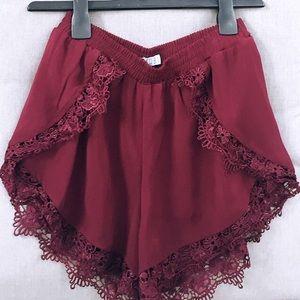 TOBI Burgundy Lace Shorts