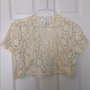 White House Black Market Lace Shrug Size Small