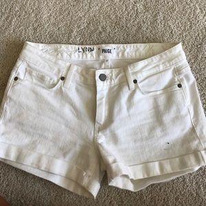 paige white jean shorts