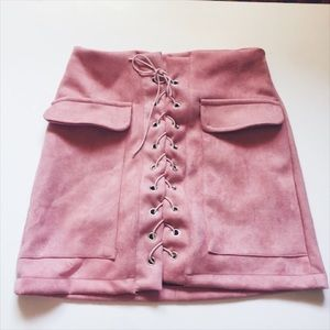 Pink lace up skirt