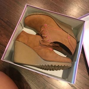 Shoes - Tan Suede Wedges