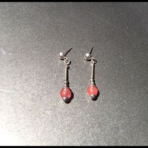 Coral drop post earrings