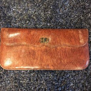 Vintage Genuine Leather Tan Clutch