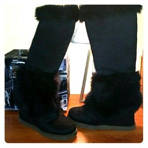 Under knee suede wedge boots