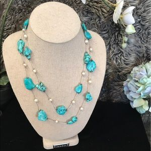 Neiman Marcus Jewelry - Neiman's Lovely EUC Turquoise and Pearl Necklace