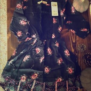 NWT Abercrombie Navy Blue Floral Dress Girls 3:4