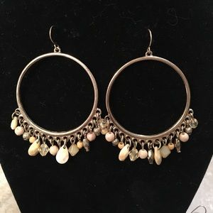Gold Hoops pink and tan stones