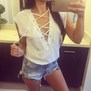 Tops - Lace up top