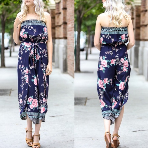 Bellanblue Pants - MARLIE Off Shoulder Floral Print Jumper - NAVY