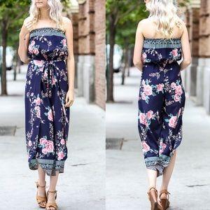 Bellanblue Pants - MARLIE Off Shoulder Floral Print Jumper - NAVY