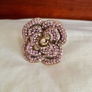 Jewelry - Pink Crystal Encrusted Flower Statement Ring🌺New