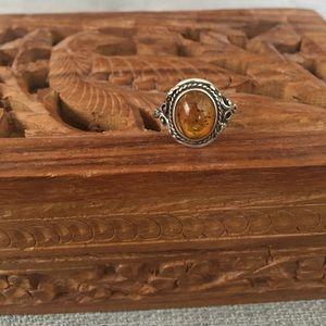 Genuine Sterling Silver Amber Ring