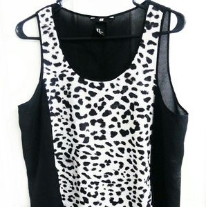 H & M Sheer High Low Animal Print Sleeveless Top
