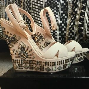 Shoes - Sebastian Milano nude Suede wedges size 7 37