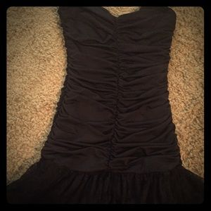 Strapless Black mini dress with Flare bottom