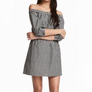 Divided Dresses & Skirts - H&M Divided Off The Shoulder Checker Dress