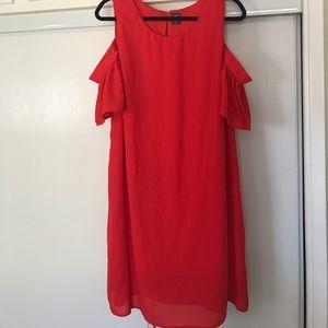 Dresses & Skirts - Red cold shoulder sun dress