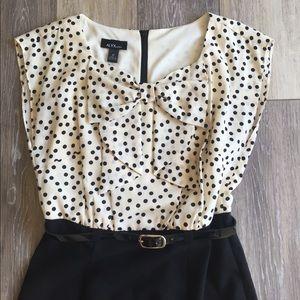 Alyx Dresses & Skirts - Black & Cream Polka Dot Bow Neck Belted Dress