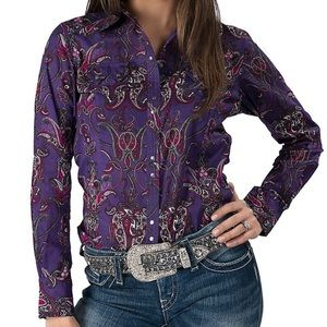 Arias purple paisley button up top