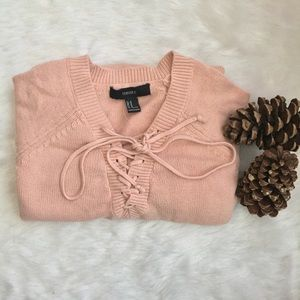Sweaters - ⚠️‼️ SALE‼️⚠️ Pink Lace Up Sweater