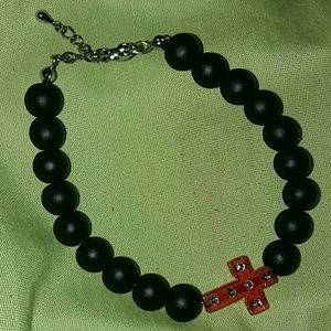 Jewelry - Black and red cross charm bracelet