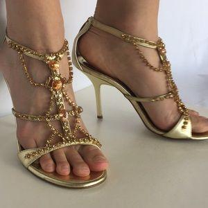 Valerie Stevens Shoes - Valerie Stevens gold beaded heels