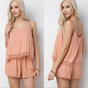 🆕Lace Trimmed Layer Romper