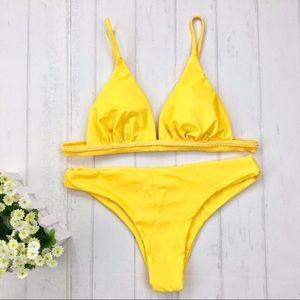 Other - Women padded sexy yellow two piece bikini swimwear