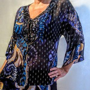 Hale Bob Tops - Sheer gorgeous beaded tunic