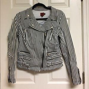 Tripp nyc Jackets & Blazers - TRIPP NYC Black White Striped Motto Jacket