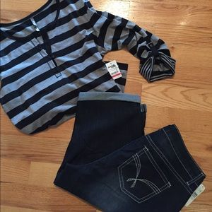 new directions Denim - NWT New Directions capris & Charlotte Russe shirt