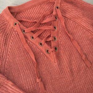 ROMWE Make Me Mauve Raglan Lace Up Sweater