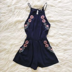 Pants - Gauze Romper w/ Floral Embroidery