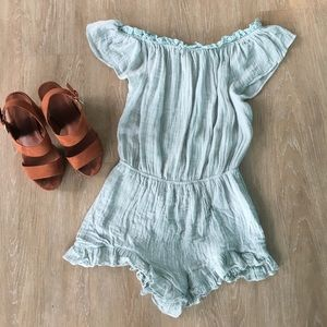 American Threads Pants - American Threads blue off-shoulder romper. Size S