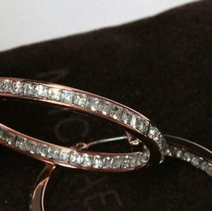 Michael Kors Jewelry - MICHAEL KORS ROSE GOLD CRYSTAL HOOP EARRINGS