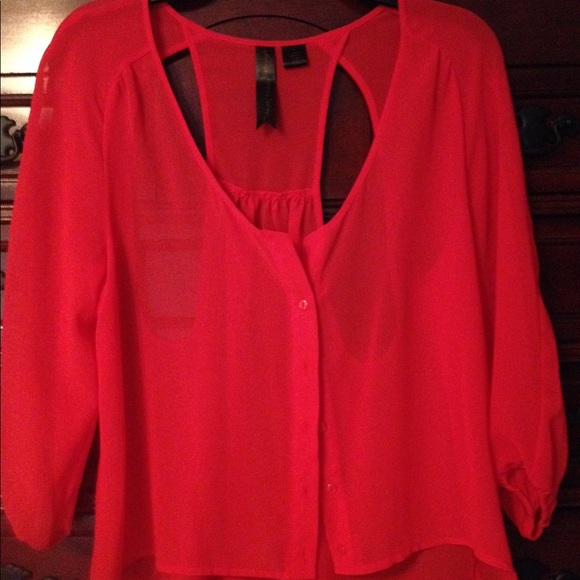 62 off tops red see through top with racer back from for Shirts with see through backs