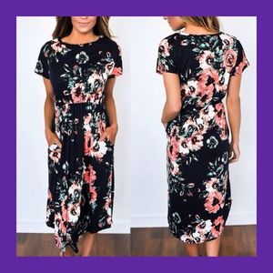 🌻The Perfect Fall Floral Midi-Dress