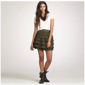 J Crew 100% Silk Ruffled Mini Skirt sz 00 fits 0-2