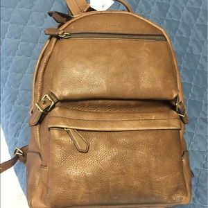 Other - Camel colored unisex COACH backpack NWT