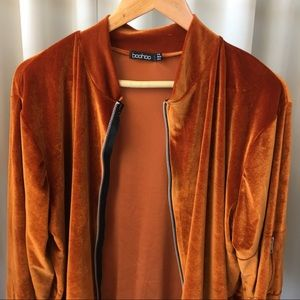 Boohoo Jackets & Coats - Amber Velvet Bomber Jacket